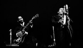 John Coltrane with Wes Montgomery photographed at The Monterey Jazz Festival in Monterey, CA September 24, 1961 © Jim Marshall Photography LLC.