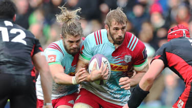 EDINBURGH, SCOTLAND - OCTOBER 22:Chris Robshaw of Harlequins drives forward with the ball during the European Rugby Challenge Cup match between Edinburgh and Harlequins at Murrayfield Stadium