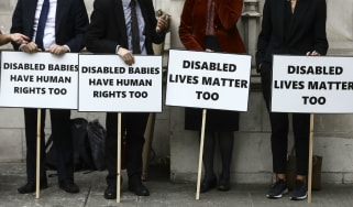 Pro-life protesters demonstrate outside the supreme court in London