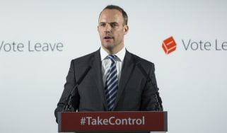 Dominic Raab gives a speech at the Vote Leave headquarters in 2016