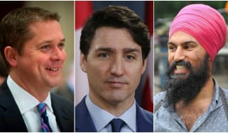 Canada election, Justin Trudeau, Andrew Scheer, Jagmeet Singh