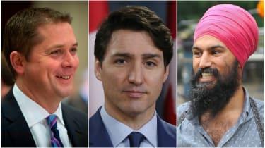 Canada election, Justin Trudeau, Andrew Scheer, Jagmeet Singh