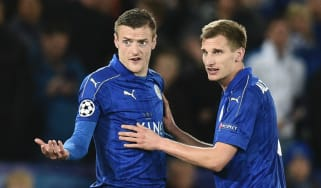 Jamie Vardy and Marc Albrighton of Leicester City