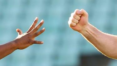Rock, paper, scissors football referee