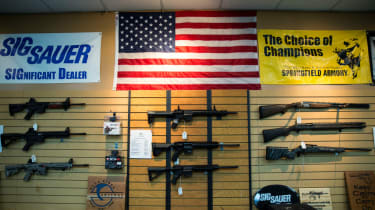Firearms under a US flag