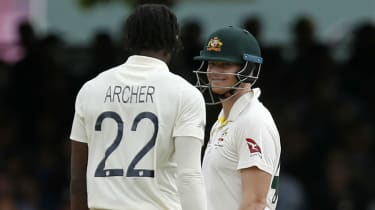 Australia's Steve Smith smiles at England's Jofra Archer during the Lord's Test