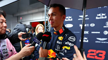 Red Bull Racing driver Alexander Albon speaks to the media at the 2019 F1 Italian Grand Prix