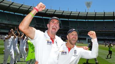 Kevin Pietersen and Matt Prior celebrating winning a match in 2010