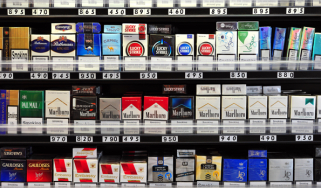 Packets of cigarettes in a London shop