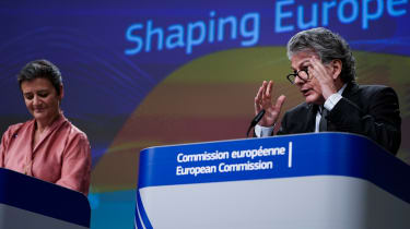 European Commission Executive Vice-President Margrethe Vestager(L) and EU Commissioner for Internal Market Thierry Breton (R) give a press conference on Artificial Intelligence (AI) on Februa