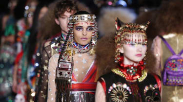 A model presents a creation by Manish Arora during the 2016 Spring/Summer ready-to-wear collection fashion show, on October 1, 2015 in Paris. AFP PHOTO / PATRICK KOVARIK(Photo credit should r