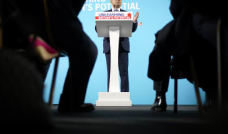 MANCHESTER, ENGLAND - NOVEMBER 07: Sajid Javid delivers a speech on the Conservative Party's plans for the economy at the Airport Runway Visitor Park at Manchester Airport on November 7, 2019