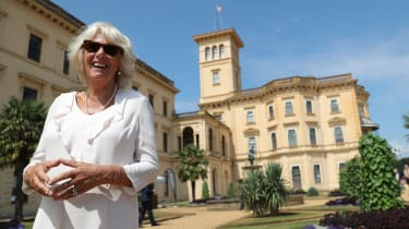 EAST COWES,UNITED KINGDOM - JULY 24: Camilla, Duchess of Cornwall poses outside Osborne House, Queen Victoria's holiday home during her visit to the Isle of Wight on July 24,2018 in East Cowe