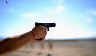 A pistol is fired at a US gun show