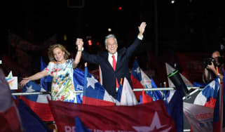 Sebastian Pinera celebrates being returned to power in Chile