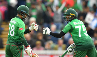 Bangladesh batsmen Tamim Iqbal and Shakib Al Hasan in action against the West Indies