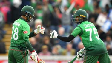 Bangladesh batsmen Tamim Iqbal and Shakib Al Hasan in action against the West Indies