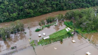 Flooded roads and homes