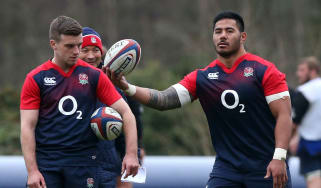 George Ford and Manu Tuilagi take part in an England rugby training session
