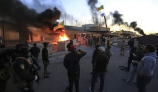 BAGHDAD, IRAQ - DECEMBER 31: Outraged Iraqi protesters storm the U.S. Embassy in Baghdad, protesting Washington's attacks on armed battalions belong to Iranian-backed Hashd al-Shaabi forces o