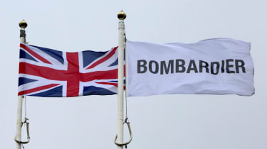 Flags at the Bombardier factory in Northern Ireland