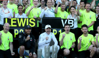 The Mercedes team and drivers celebrate the victory at the 2019 F1 Azerbaijan GP in Baku