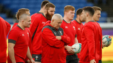 Wales head coach Warren Gatland oversees training at the International Stadium in Yokohama