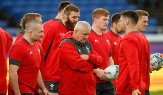 Wales head coach Warren Gatland oversees training at the International Stadium in Yokohama