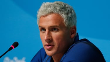 RIO DE JANEIRO, BRAZIL - AUGUST 12:Ryan Lochte of the United States attends a press conference in the Main Press Center on Day 7 of the Rio Olympics on August 12, 2016 in Rio de Janeiro, Braz