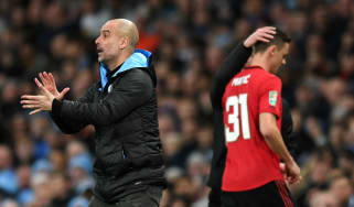 Man City boss Pep Guardiola reacts as Man Utd's goalscorer Nemanja Matic is sent off