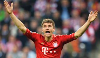 MUNICH, GERMANY - APRIL 23:Thomas Mueller of Bayern Muenchen appeals during the UEFA Champions League Semi Final First Leg match between FC Bayern Muenchen and Barcelona at Allianz Arena on A