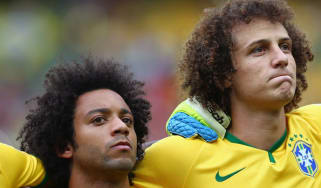 Marcelo Vieira and David Luiz of Brazil