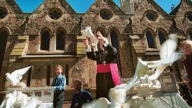 Archbishop of Adelaide Philip Wilson releases white doves with schoolchildren in 2002