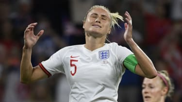 England captain Steph Houghton reacts after missing the penalty against the United States