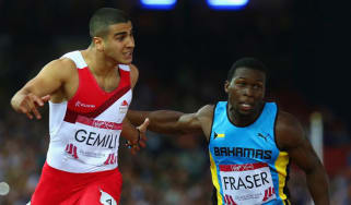 Adam Gemili crosses the line at Hampden Park