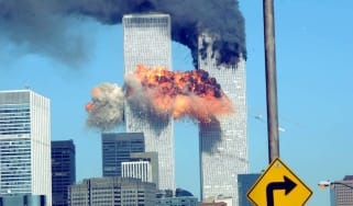 The South Tower of the World Trade Center is hit by the second hijacked plane
