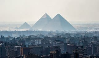 The pyramids in Giza are shrouded in smog