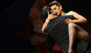 A Colombian couple take part in World Tango Championships