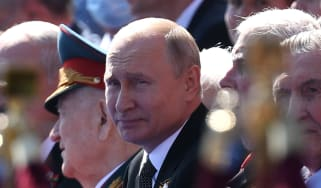 Vladimir Putin at a military parade in Moscow in 2020