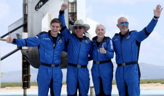 Blue Origin's New Shepard crew posing after flying into space