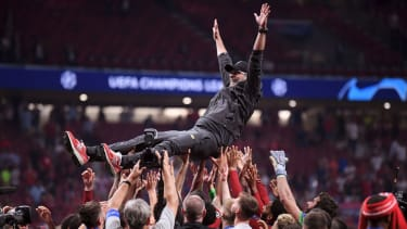 Liverpool boss Jurgen Klopp celebrates winning the Champions League in 2019
