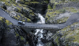NORWAY. 2016. Trollstigen. The famous Trollstigen road, a series of switchbacks winding its way through a steep cliffside near Åndalsnes.Photographed on assignment from Land Rover.