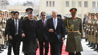 Joe Biden with former Afghan President Hamid Karzai during a visit in 2011