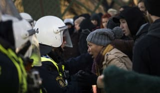 Police blocks anti-neo-nazi protesters in Stockholm last year