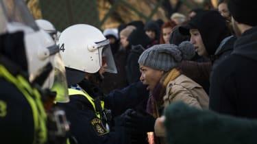 Police blocks anti-neo-nazi protesters in Stockholm last year